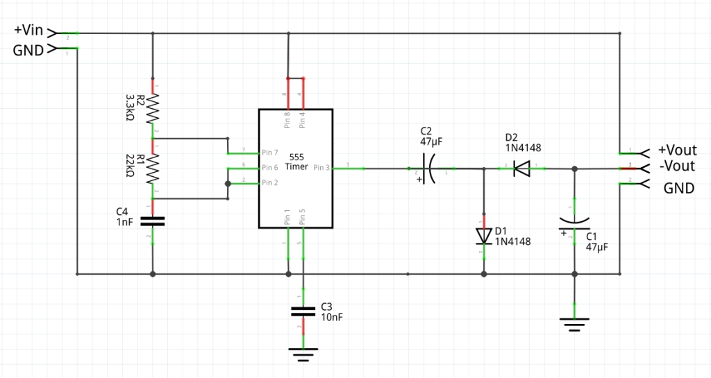 Practical realization of a polarity inverter using a 555 timer.