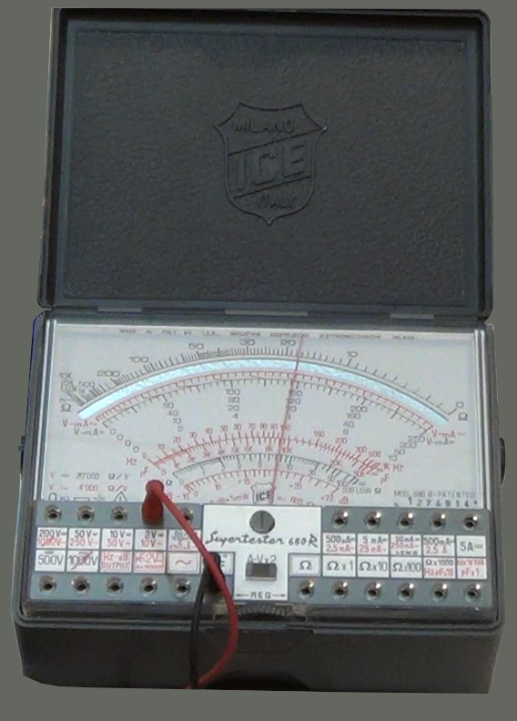Picture of an analog multimeter measuring volts.