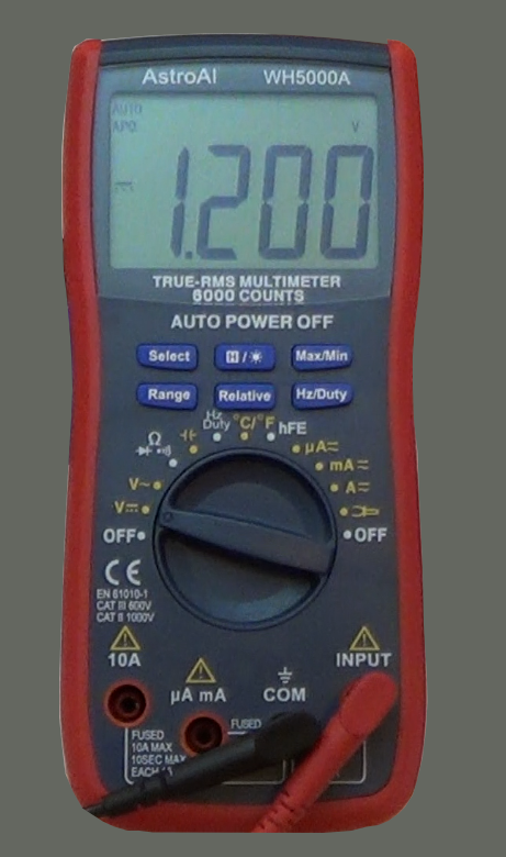 Picture of a digital multimeter measuring volts.